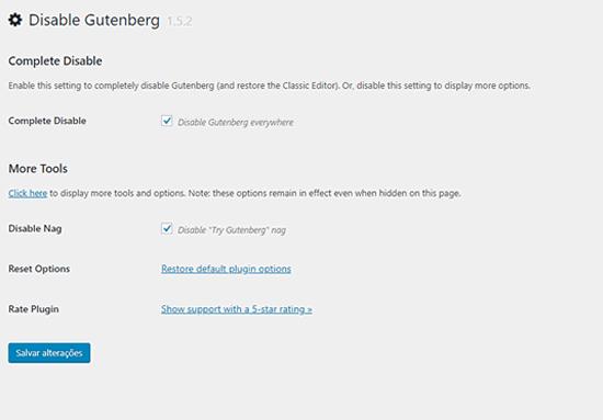 Plugin Disable Gutenberg configuração padrão