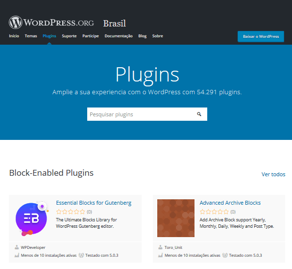 Diretório de Plugins do WordPress