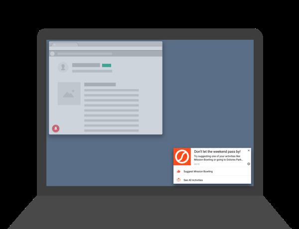 notificações push mostradas em um desktop