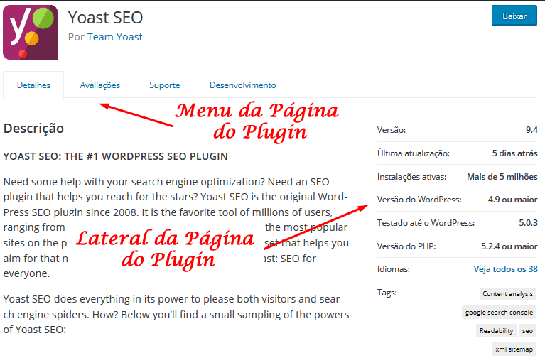 Página do Plugin no Diretório de Plugin do WordPress