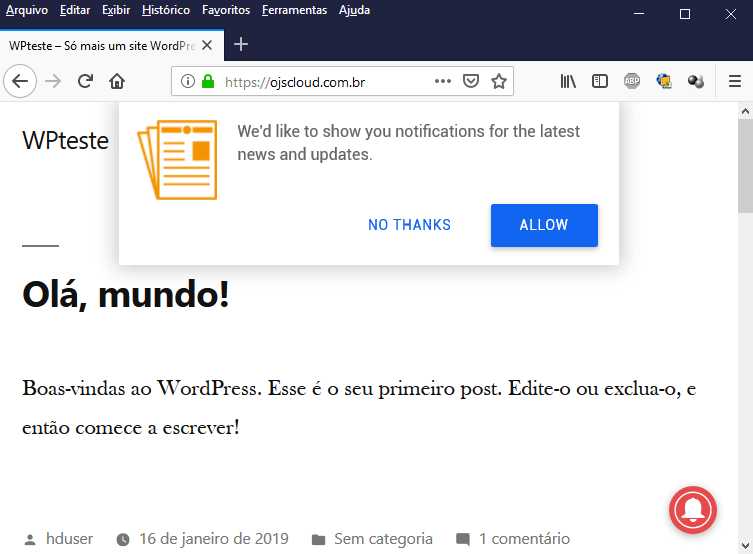 Popup de notificação ativado na parte superior do site