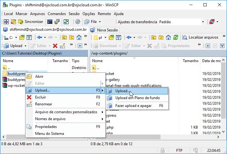 Enviando arquivos para o site WordPress por FTP
