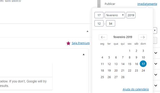 Selecione a data e hora para agendar seu post no WordPress