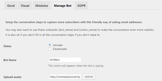 Guia de configuração de bot