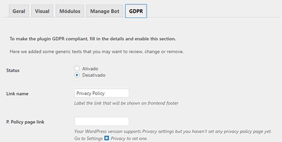 Configuração de compatibilidade com a GDPR e LGPD.