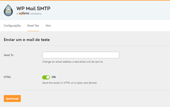 Enviar e-mail de teste do SMTP