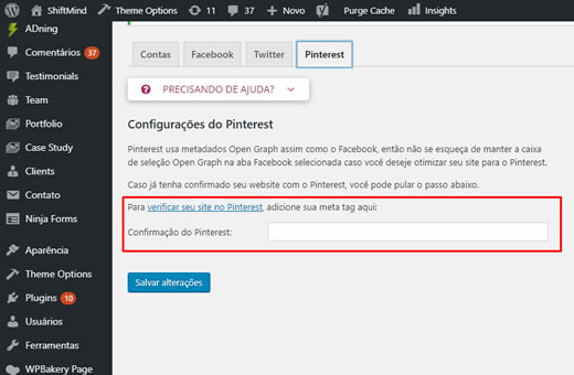 Inserir código de confirmação Pinterest