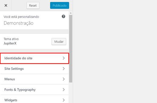 Recurso Personalizar na Seção Identidade do Site