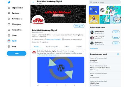 Exemplo de Página no Twitter