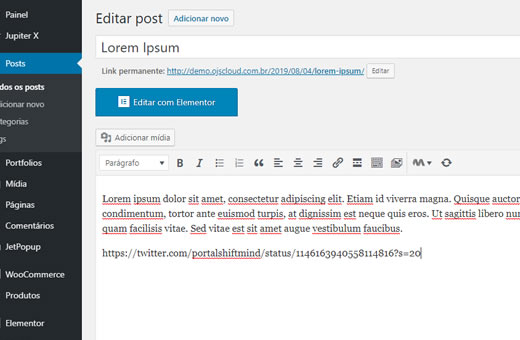 URL DE UM TWEET NO EDITOR CLÁSSICO DO WORDPRESS