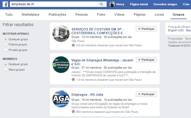 Busca por Grupos no Facebook